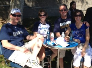 Brewers fans from Wisconsin find a little shade