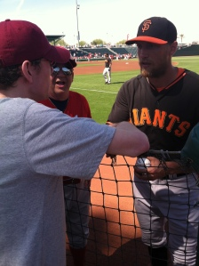 Hunter Pence signs autographs for  Tyler May, a state champion golfer.