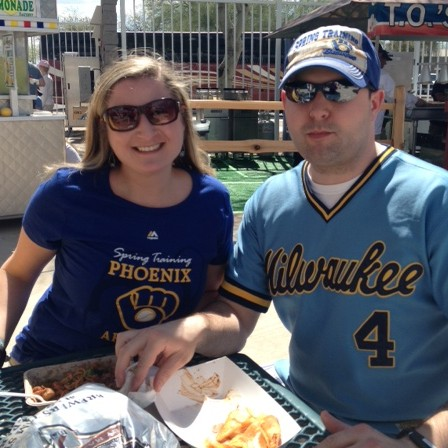Brewers fans enjoy the sunshine and  model very cool classic Milwaukee Brewers gear