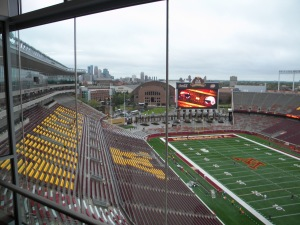 View of the field with the pressbox and suites visible at left