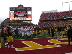The scoreboard is easily visible from the opposite endzone