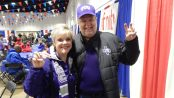 Horned Frogs fans throw the Frog sign at the AutoZone Liberty Bowl rPe-Game Buffet.